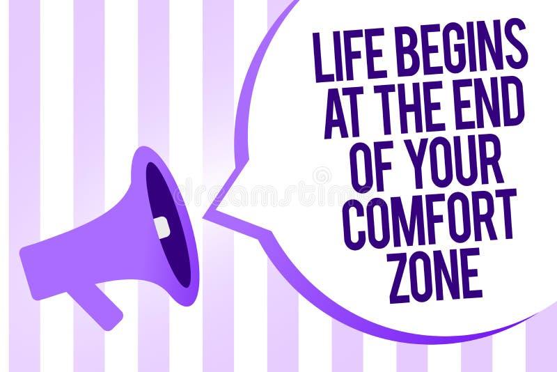 A nota da escrita que mostra a vida começa no fim de sua zona de conforto Apresentar da foto do negócio faz mudanças evoluir cres ilustração stock