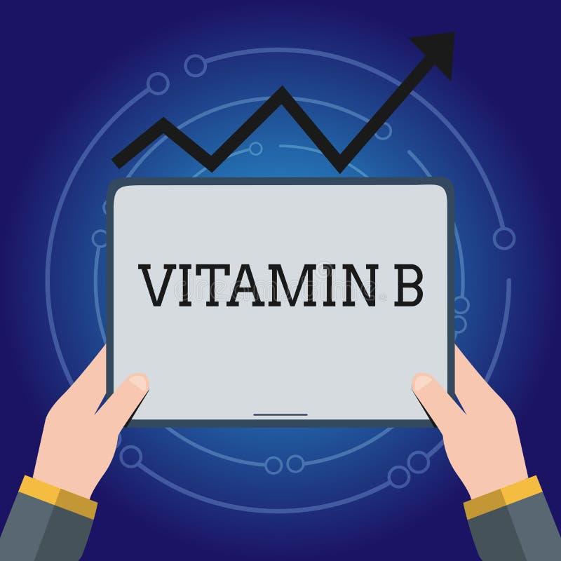 Nota da escrita que mostra a vitamina B Foto do negócio que apresenta fontes e benefícios altamente importantes do folate dos nut ilustração stock