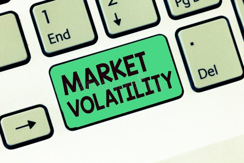 Nota da escrita que mostra a volatilidade do mercado Os preços de seguranças subjacentes apresentando da foto do negócio flutuam  fotos de stock