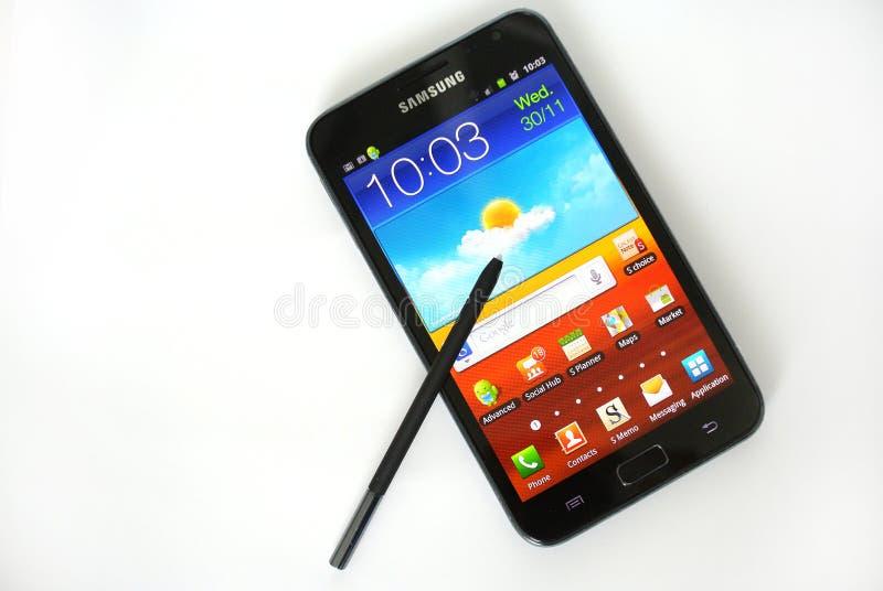 Nota da galáxia de Samsung fotos de stock royalty free
