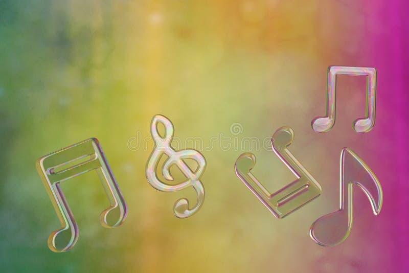 Nota da música da bolha isolada no fundo colorido illustratio 3D ilustração royalty free