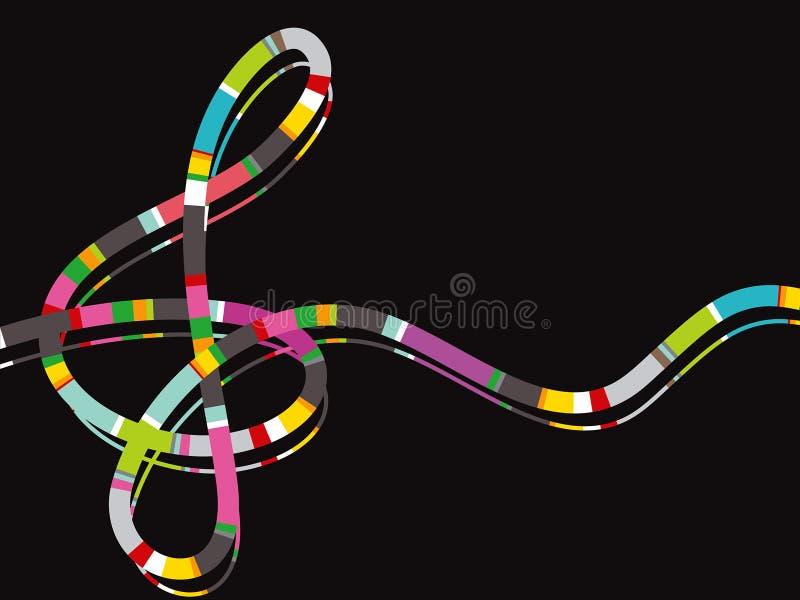Nota da música da listra da cor ilustração do vetor