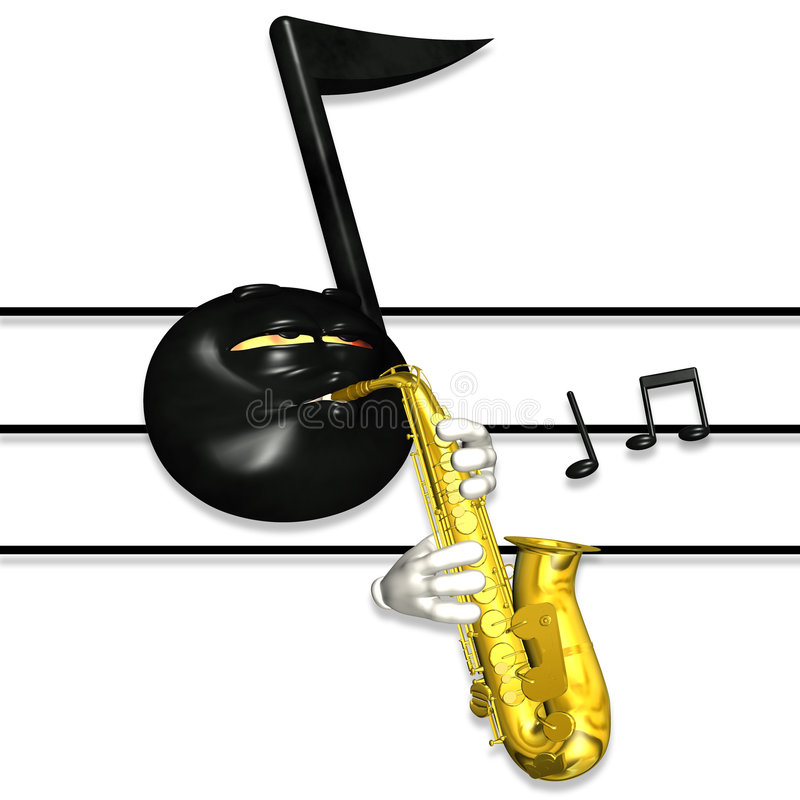 Nota da música do smiley - saxofone 1 ilustração royalty free