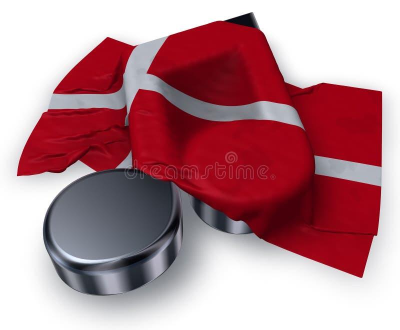 Nota da música e bandeira dinamarquesa ilustração stock