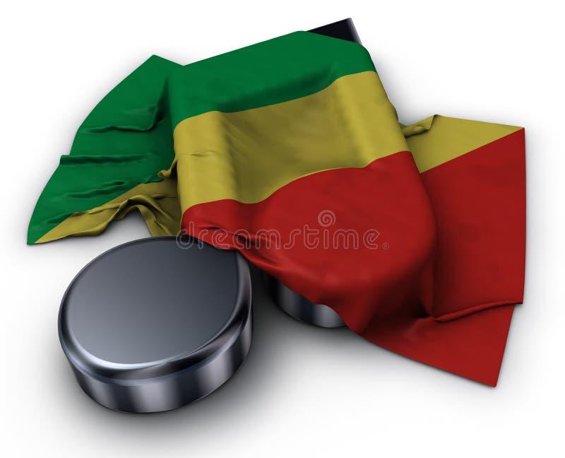 Nota da música e bandeira do Congo ilustração royalty free
