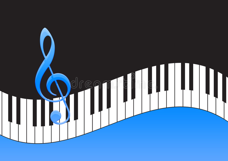 Nota da música e teclado de piano ilustração do vetor