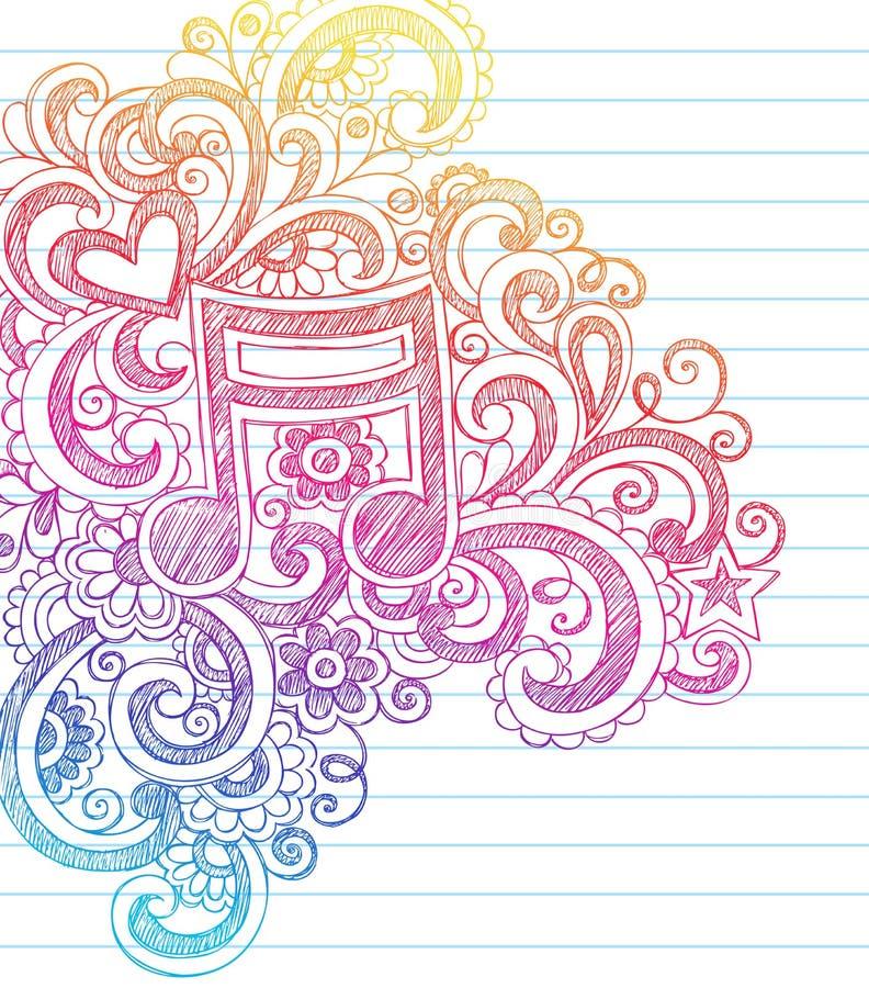 Nota da música esboçado de volta ao vetor do Doodle da escola ilustração stock