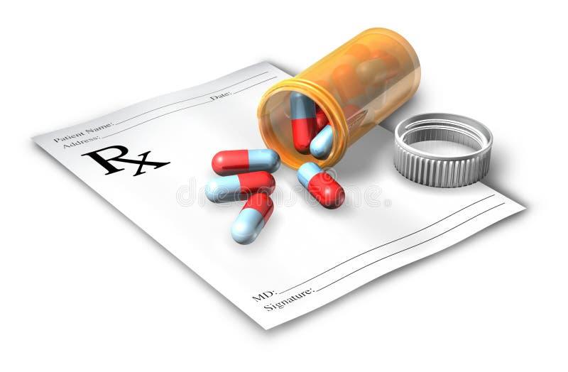 Nota da prescrição com frasco de comprimido ilustração do vetor