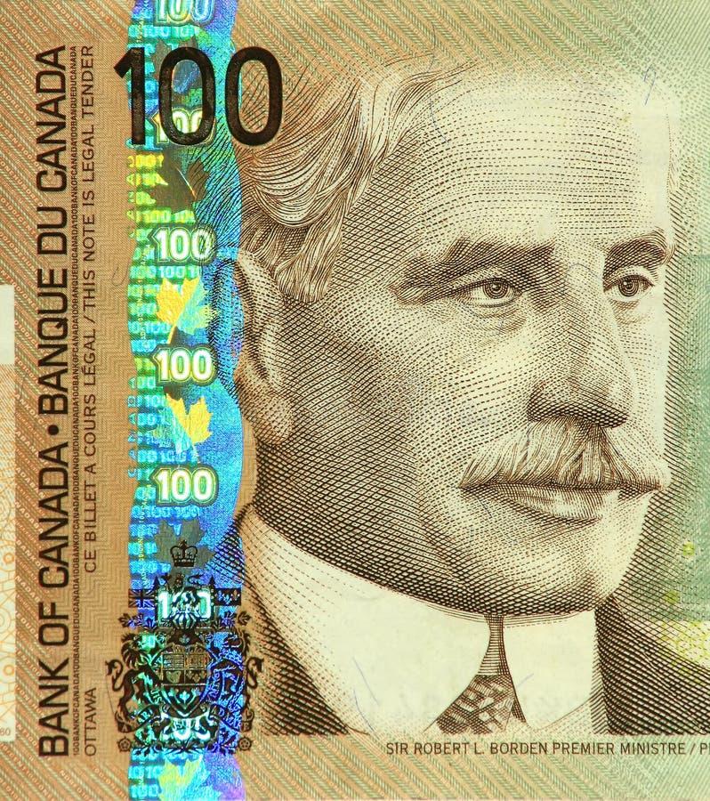 Nota de banco atual do canadense $100 foto de stock royalty free