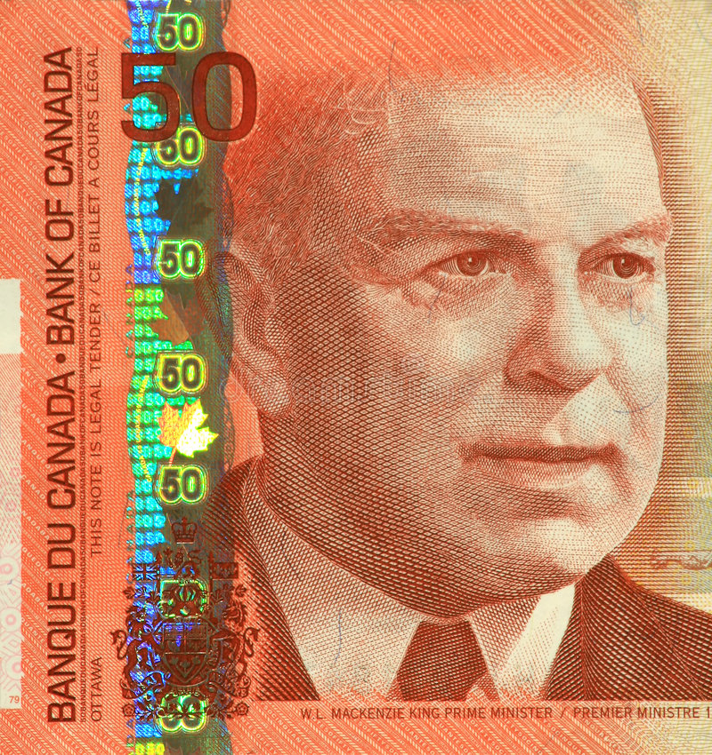 Nota de banco atual do canadense $50 fotografia de stock royalty free