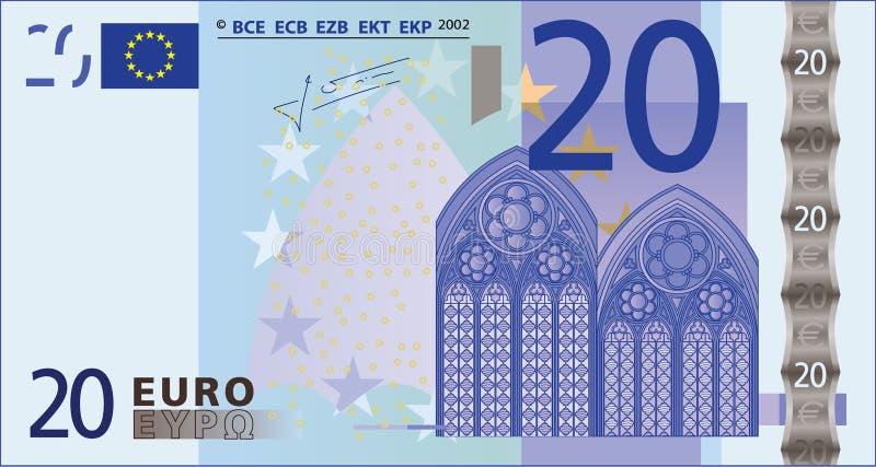 Nota de banco de 20 euro. ilustração do vetor