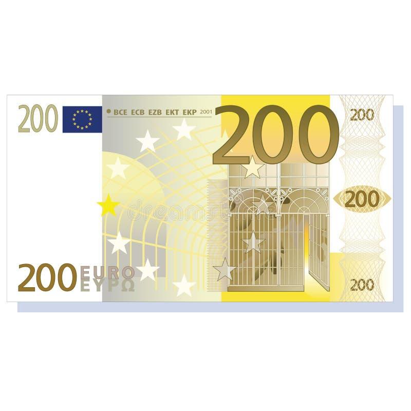 nota de banco do euro 200 ilustração stock