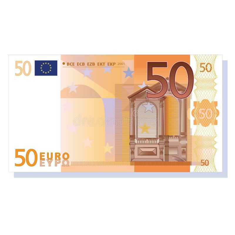 nota de banco do euro 50 ilustração stock