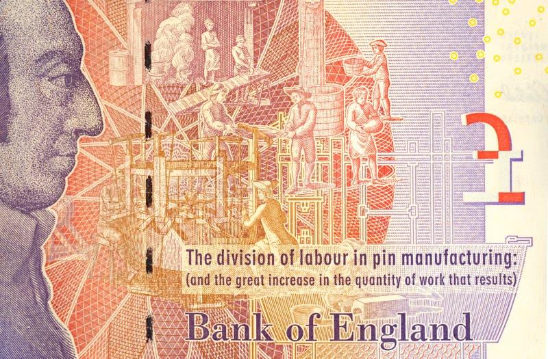 Nota de cinco libras con Adam Smith Portrait imagen de archivo libre de regalías