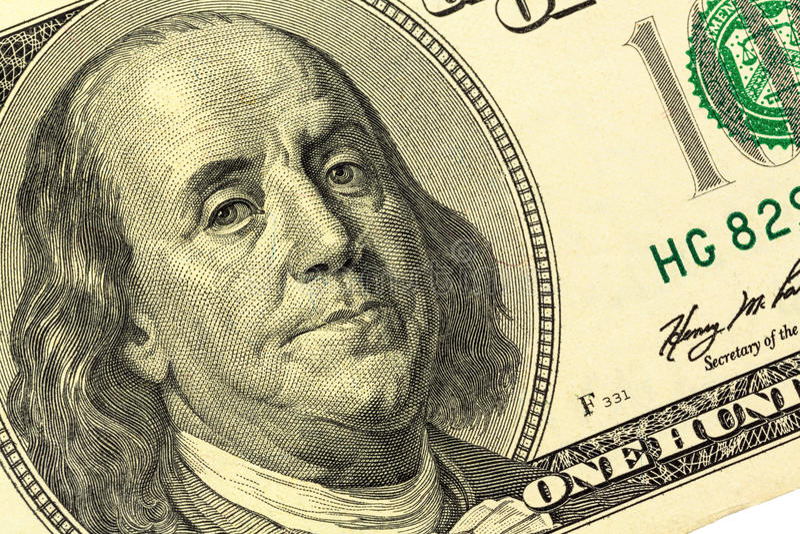 Nota De Dólar, Benjamin Franklin Fotografia de Stock Royalty Free