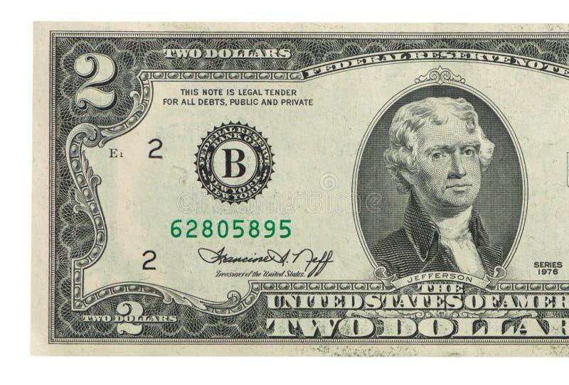 Nota de dólar dois foto de stock royalty free