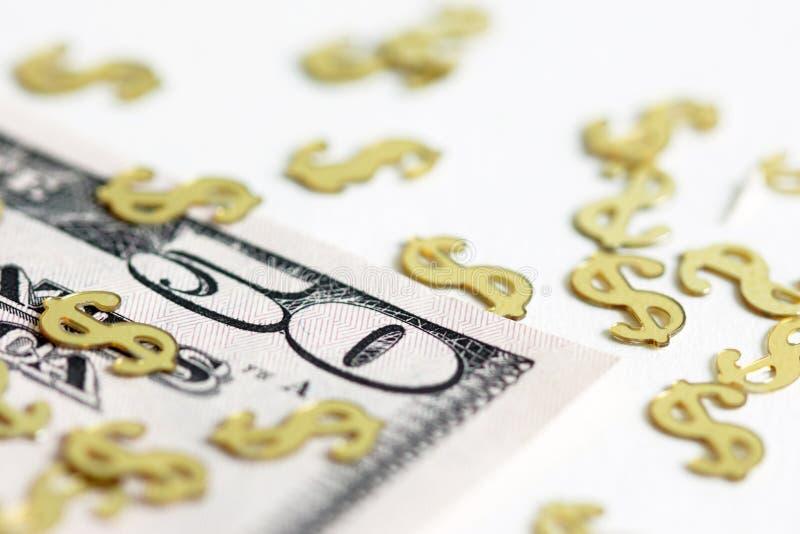 Nota de dólar dos E.U. com bandeira dos Estados Unidos fotos de stock royalty free
