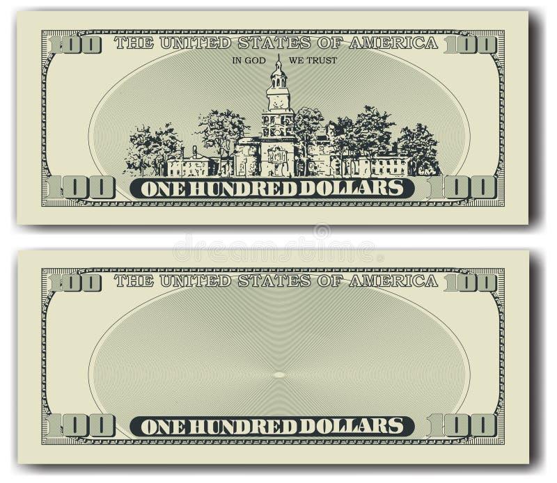 nota de dólar 100 o outro lado ilustração royalty free