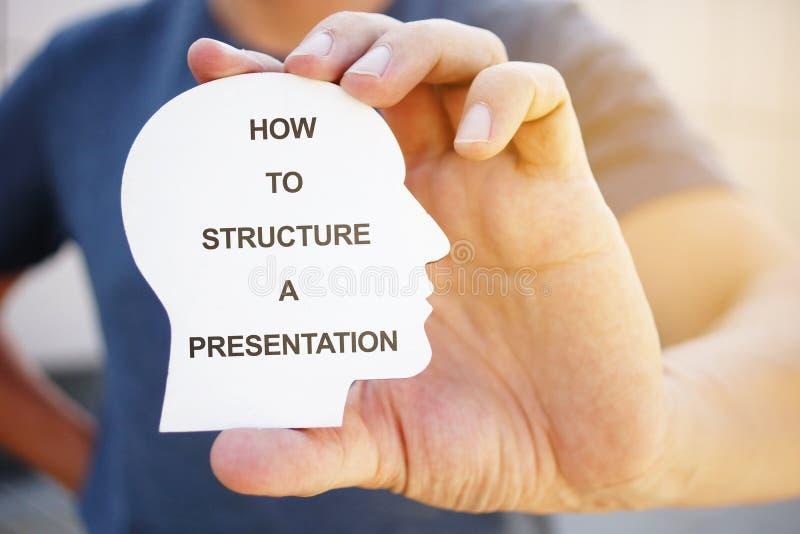 Nota de gravação mostra o texto Como estruturar uma apresentação imagens de stock