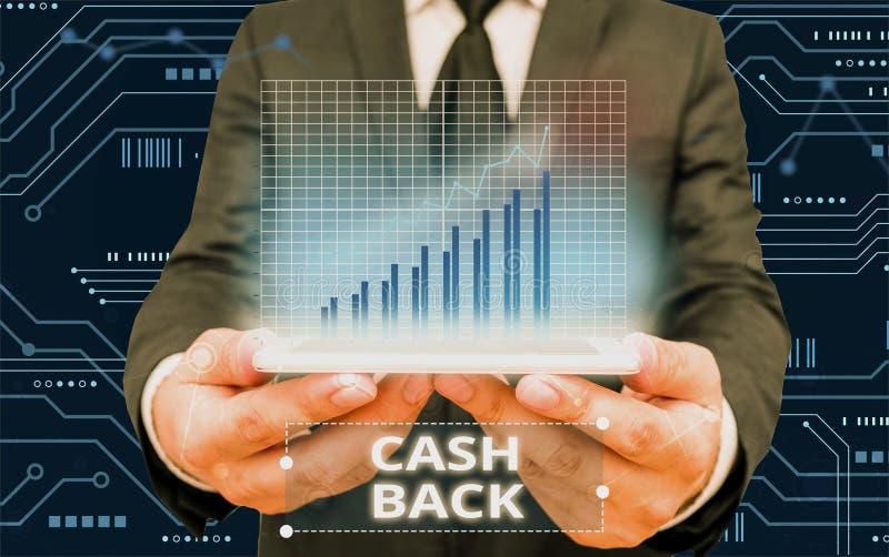 Nota de gravação mostrando o Cash Back Demonstração de fotos comerciais que denota uma forma de incentivo oferecida aos comprador imagens de stock royalty free