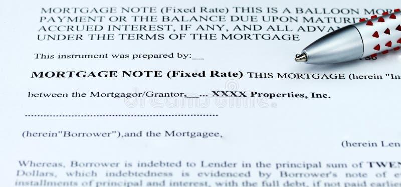 Nota de hipoteca foto de stock