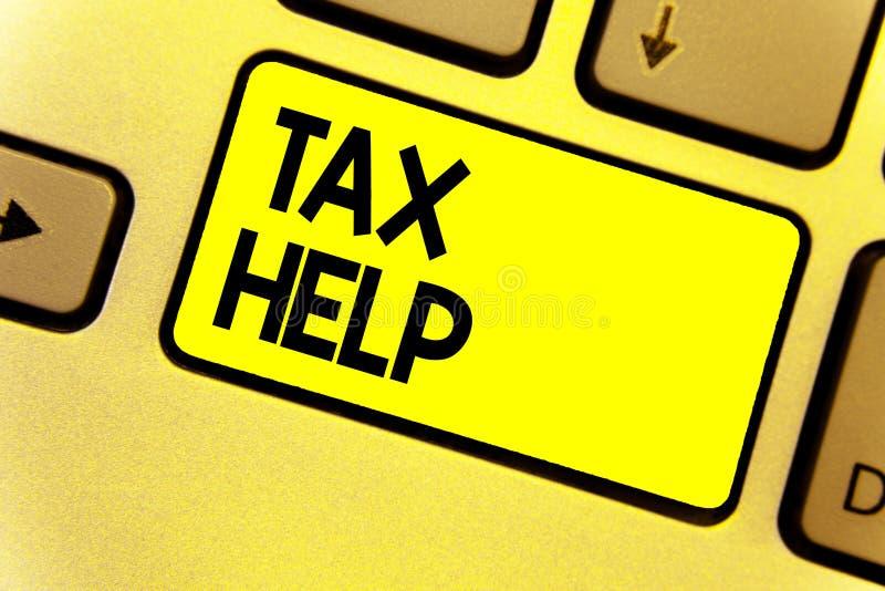 Nota de la escritura que muestra ayuda del impuesto Ayuda de exhibición de la foto del negocio de la contribución obligatoria al  fotografía de archivo libre de regalías
