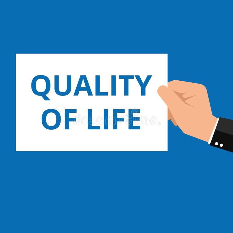 Nota de la escritura que muestra calidad de vida libre illustration