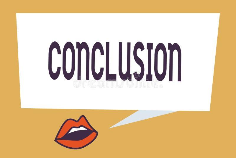 Nota de la escritura que muestra la conclusión Final de exhibición de la decisión final del análisis de los resultados de la foto stock de ilustración