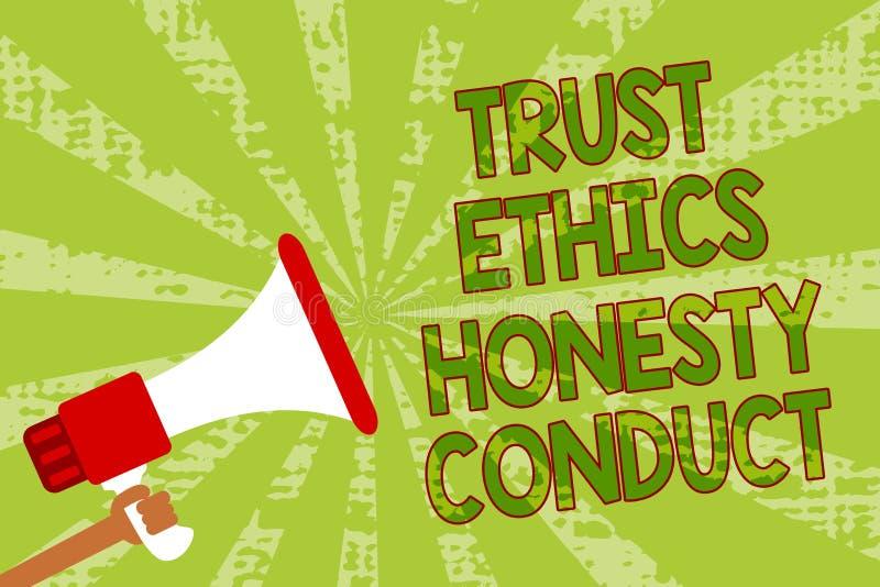 Nota de la escritura que muestra conducta de la honradez de los éticas de la confianza La exhibición de la foto del negocio impli ilustración del vector