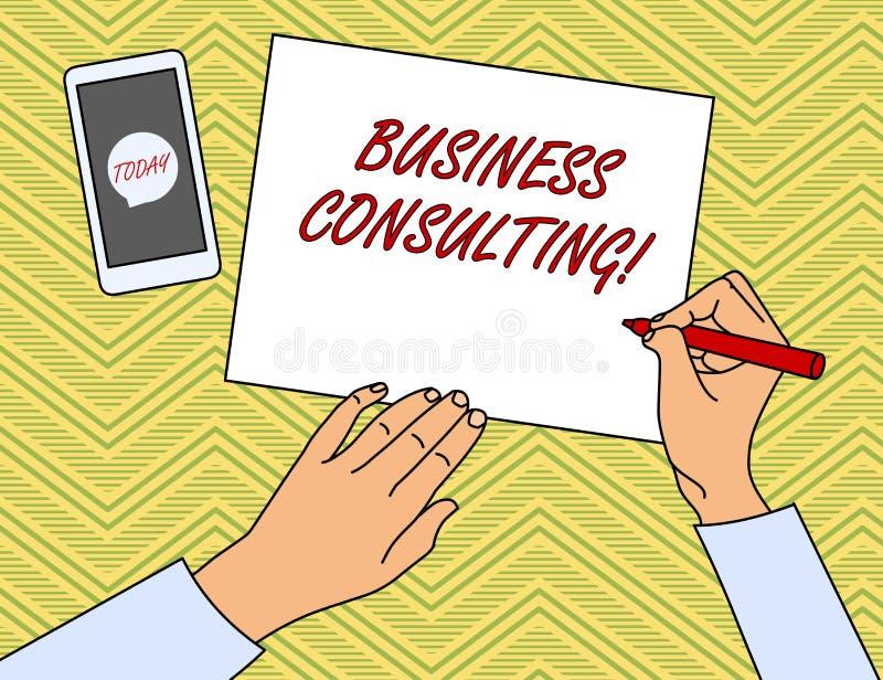 Nota de la escritura que muestra la consultor?a de negocios Pr?ctica de exhibici?n de las mezclas de la foto del negocio de la ex stock de ilustración