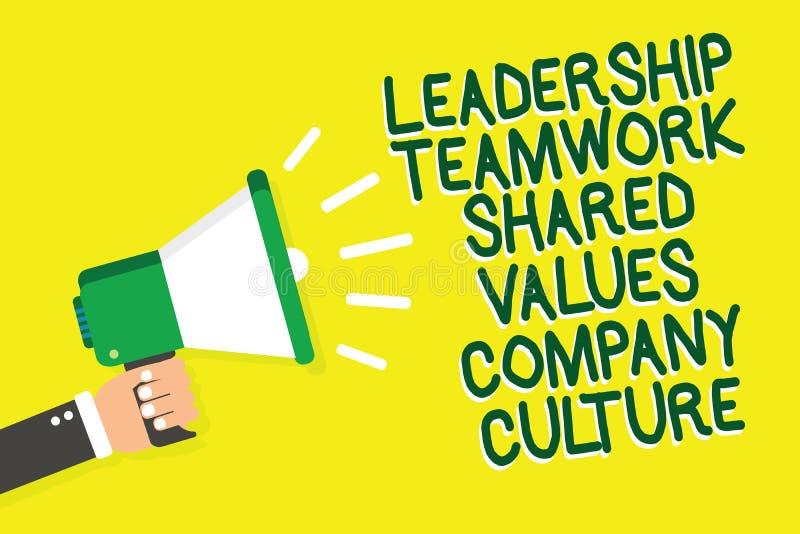 Nota de la escritura que muestra la cultura de empresa de los valores compartidos del trabajo en equipo de la dirección Grupo de  ilustración del vector