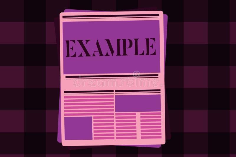 Nota de la escritura que muestra ejemplo Modelo de exhibición de la muestra del ejemplo de la foto del negocio para seguir la exp stock de ilustración