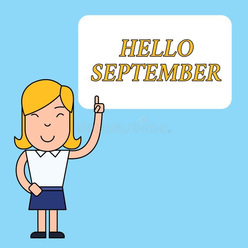 Nota de la escritura que muestra el hola septiembre Foto del negocio que muestra con impaciencia el deseo de una c?lida bienvenid ilustración del vector