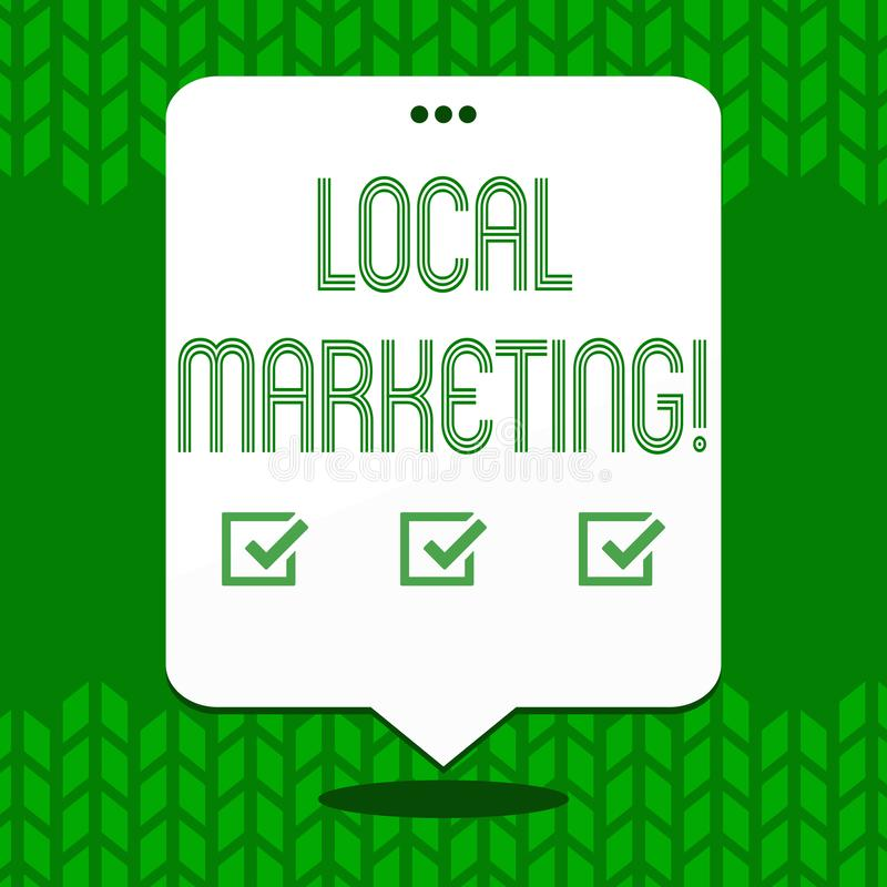 Nota de la escritura que muestra el márketing local Foto del negocio que muestra avisos comerciales de la publicidad regional loc stock de ilustración
