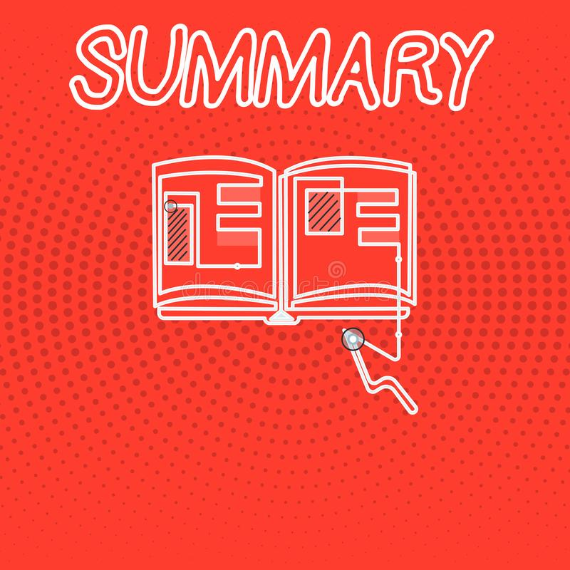Nota de la escritura que muestra el resumen Foto del negocio que muestra la versión abreviada sucinta de la sinopsis del extracto libre illustration