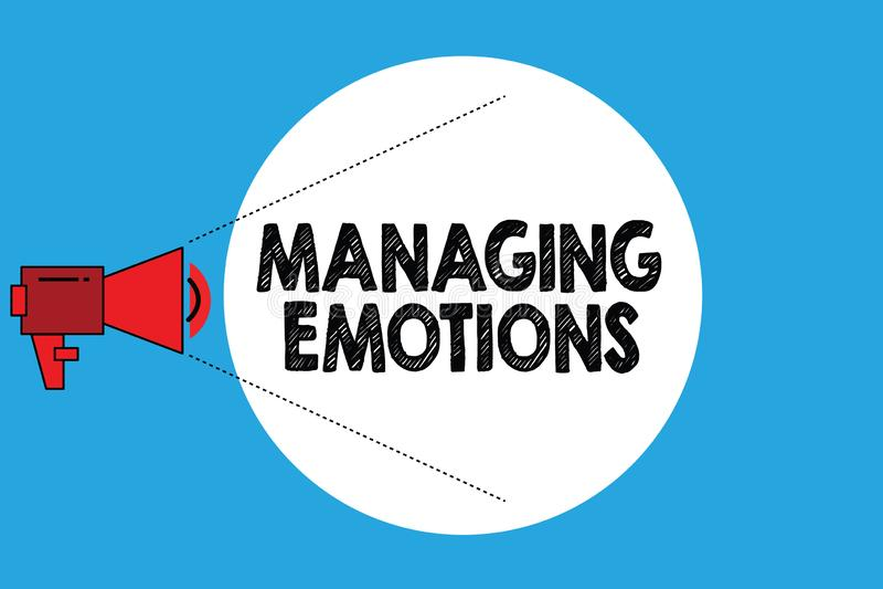 Nota de la escritura que muestra emociones de manejo Las sensaciones que controlan de exhibición de la foto del negocio en sí mis libre illustration