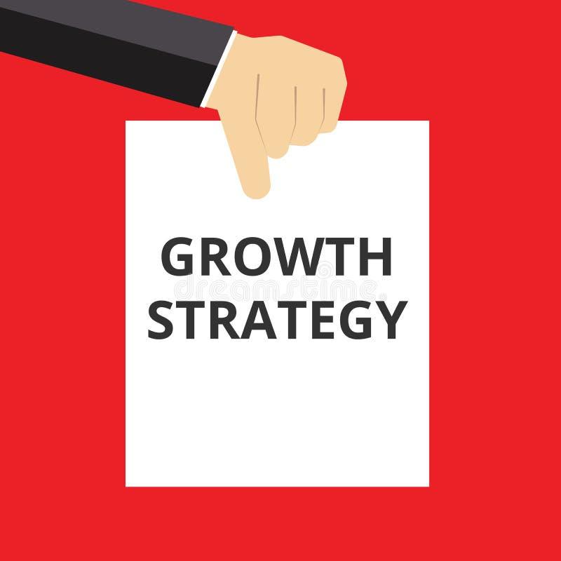 Nota de la escritura que muestra estrategia del crecimiento ilustración del vector