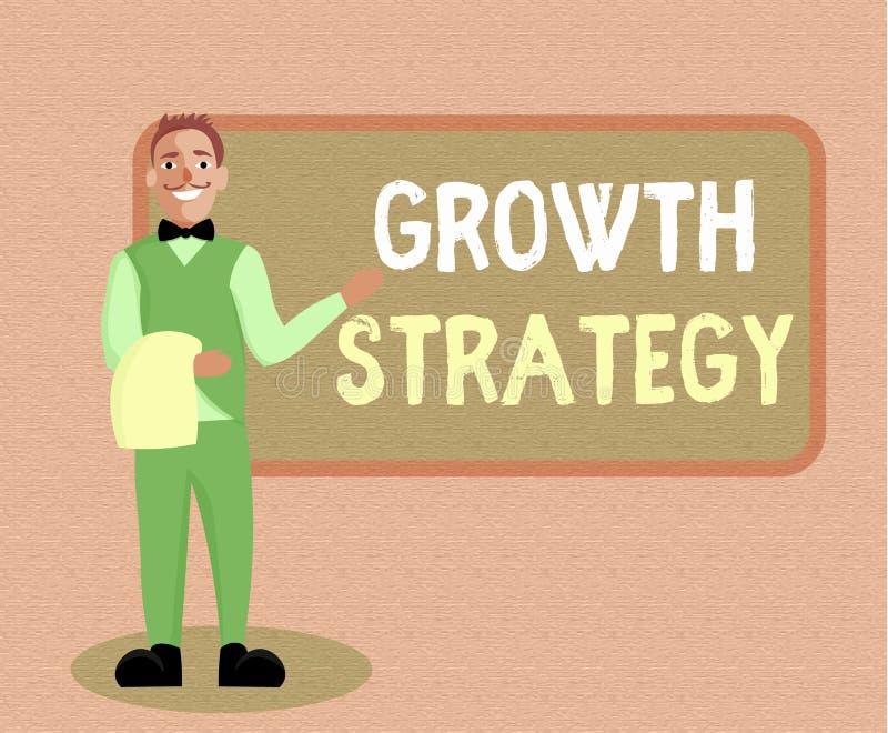 Nota de la escritura que muestra estrategia del crecimiento La estrategia de exhibición de la foto del negocio tuvo como objetivo stock de ilustración