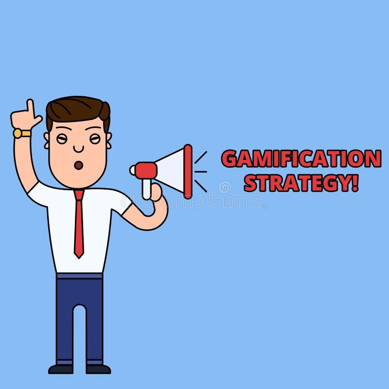 Nota de la escritura que muestra la estrategia de Gamification Las recompensas de exhibici?n del uso de la foto del negocio por l stock de ilustración