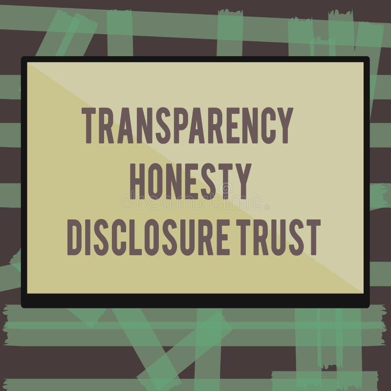 Nota de la escritura que muestra la foto del negocio de confianza del acceso de la honradez de la transparencia que muestra orden stock de ilustración