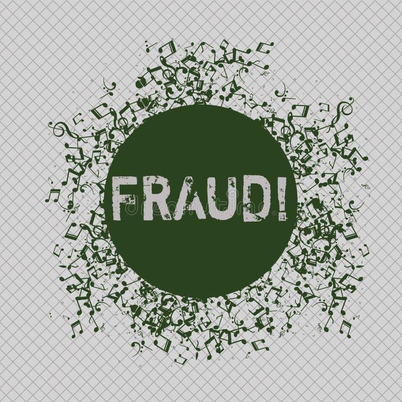 Nota de la escritura que muestra fraude Foto del negocio que muestra el engaño criminal para conseguir aumento financiero o demon stock de ilustración