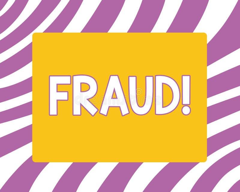 Nota de la escritura que muestra fraude La foto del negocio que mostraba el engaño criminal ilícito pensó el resultado financiero libre illustration