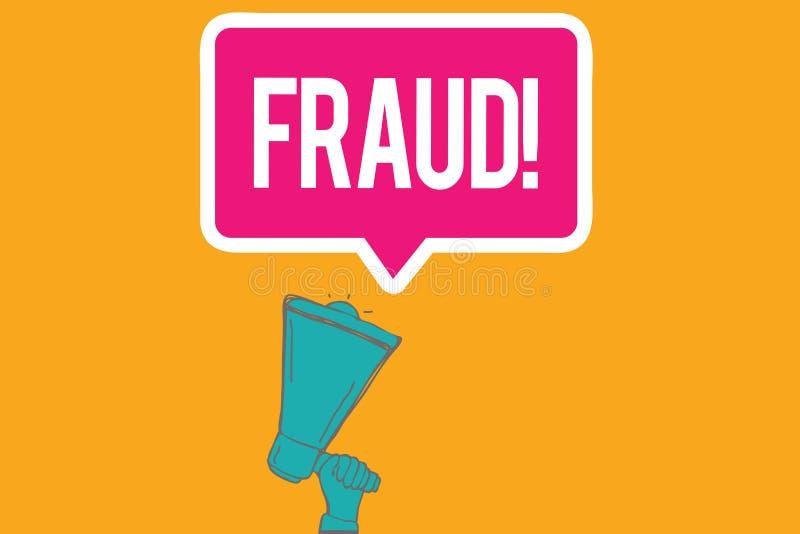 Nota de la escritura que muestra fraude La foto del negocio que mostraba el engaño criminal ilícito pensó el resultado financiero ilustración del vector