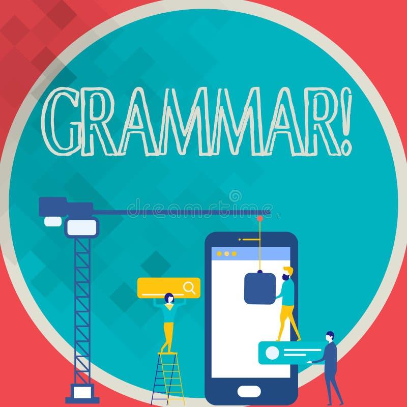 Nota de la escritura que muestra la gramática Sistema de la foto del negocio y estructura de exhibición de un funcionamiento del  stock de ilustración