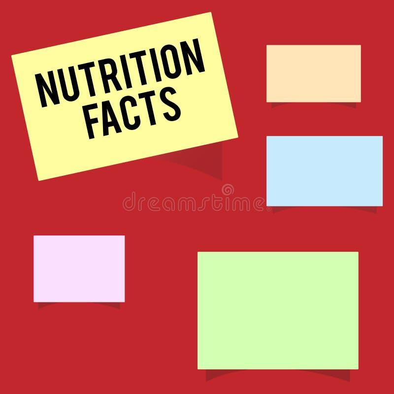 Nota de la escritura que muestra hechos de la nutrición Información detallada de exhibición de la foto del negocio sobre los alim stock de ilustración