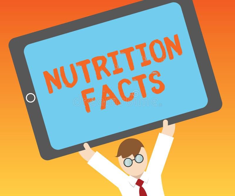 Nota de la escritura que muestra hechos de la nutrición Información detallada de exhibición de la foto del negocio sobre los alim ilustración del vector