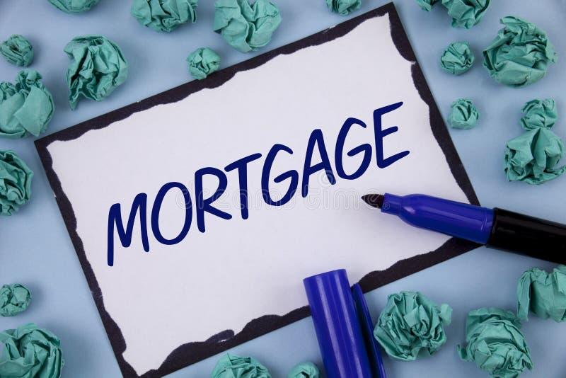 Nota de la escritura que muestra hipoteca Foto del negocio que muestra la derecha condicional de la propiedad al prestamista como foto de archivo