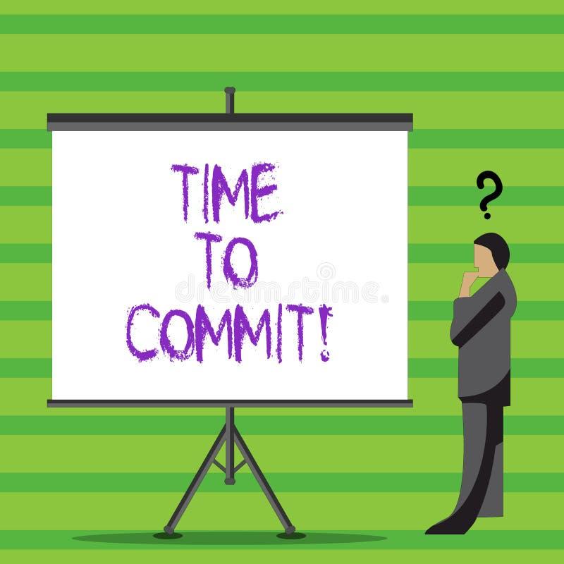 Nota de la escritura que muestra hora de confiar Compromiso u obligación de exhibición de la foto del negocio que restringen la l ilustración del vector