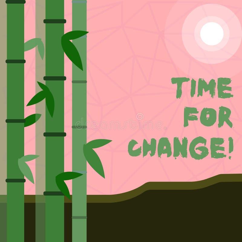 Nota de la escritura que muestra la hora para el cambio Transición de exhibición de la foto del negocio crecer para mejorar para  ilustración del vector