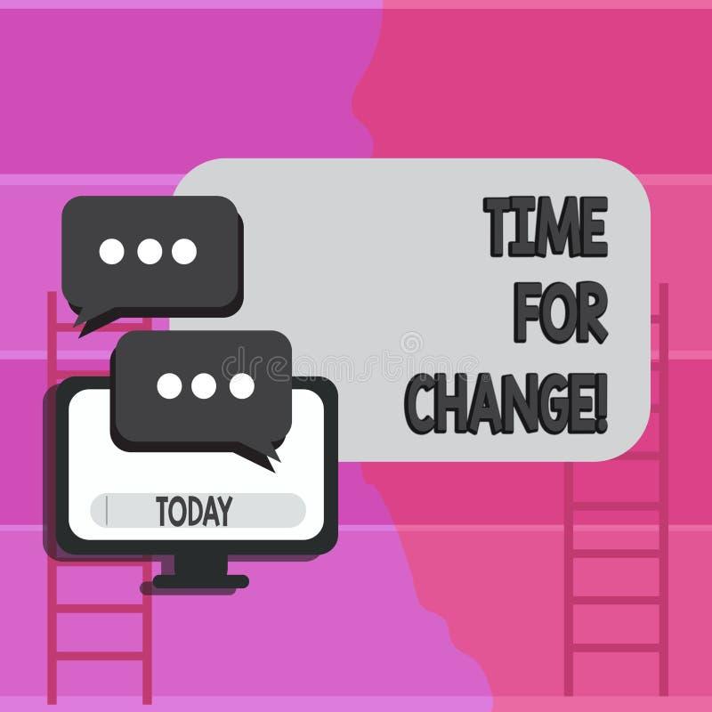 Nota de la escritura que muestra la hora para el cambio Transición de exhibición de la foto del negocio crecer para mejorar para  libre illustration